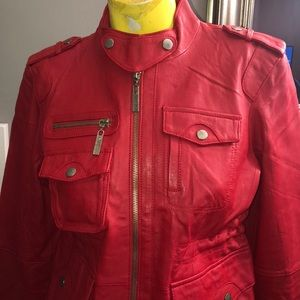 GENUINE RED LEATHER JACKET NWT size 6